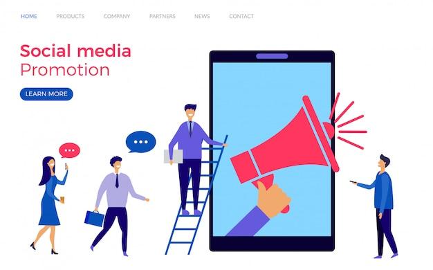 Modello di landing page per la promozione dei social media