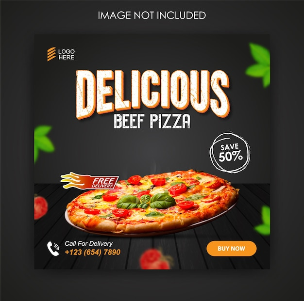 Modello di progettazione di post di instagram e cibo per pizza promozione sui social media