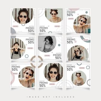 Social media puzzle frame griglia post banner vendita e articoli scontati