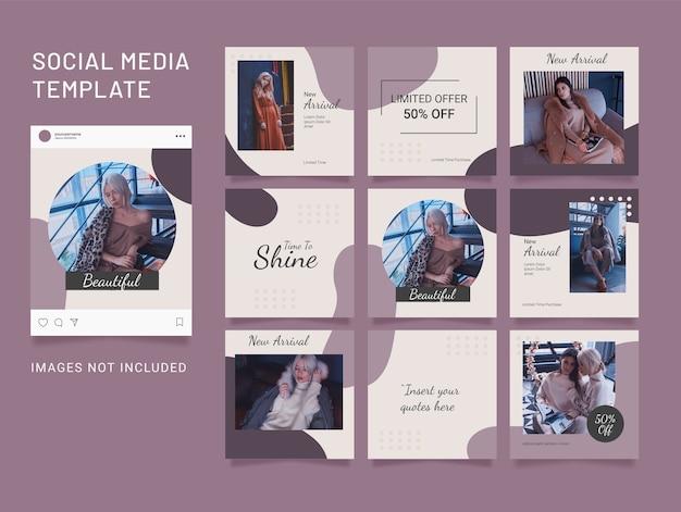 Social media puzzle template post fashion women