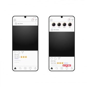 Illustrazione realistica di social media. nuovo mock up. design piatto portafoto