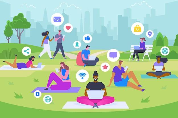 Illustrazione piana di vettore di ricreazione di social media. uomini e donne felici nel parco con personaggi dei cartoni animati di gadget. tempo libero moderno, passatempo alla moda, concetto di stile di vita online. giovani che navigano in internet