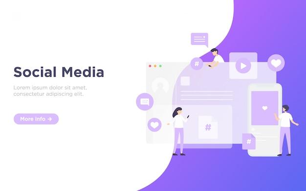 Illustrazione della pagina di destinazione del servizio di media sociali