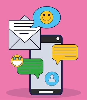 Messaggio di posta elettronica per smartphone sui social media