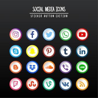 Edizione di pulsanti adesivi per social media