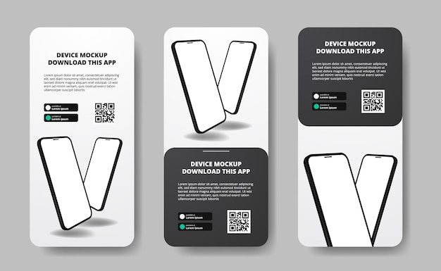 Storie di social media banner pubblicitari per il download di app per telefono cellulare, doppio smartphone. scarica i pulsanti con il modello di codice qr di scansione. telefono con prospettiva 3d