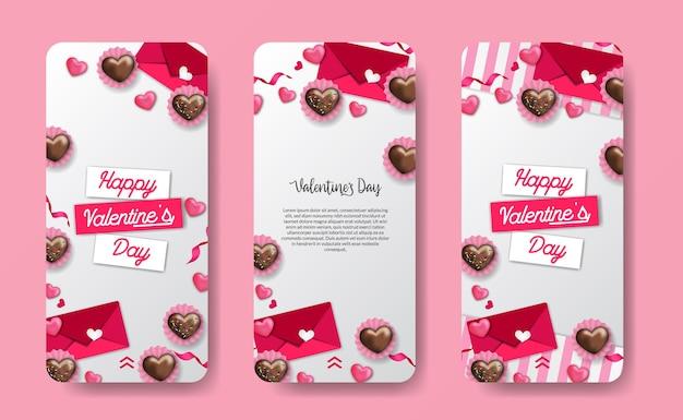 Modello di banner di storie di social media per evento di san valentino con cuore di amore decorazione illustrazione rosa dolce