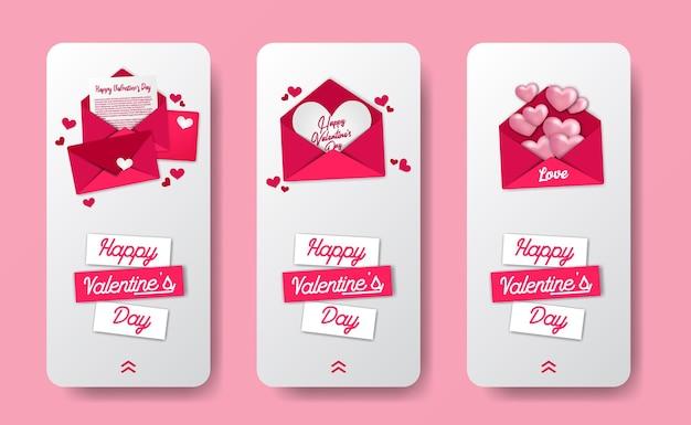 Modello dell'insegna di storie di media sociali per l'evento di san valentino con l'illustrazione rosa dolce della busta della lettera di amore