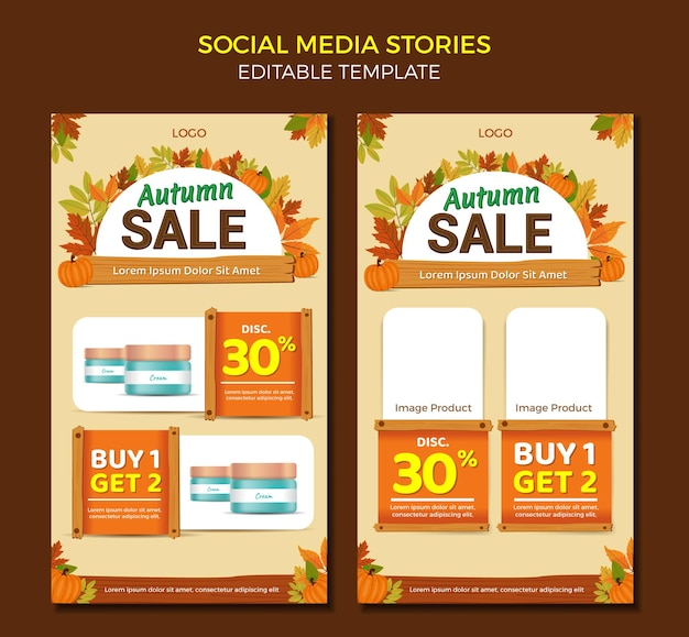 Catalogo di storie di social media modello di progettazione di mailer saldi di autunno