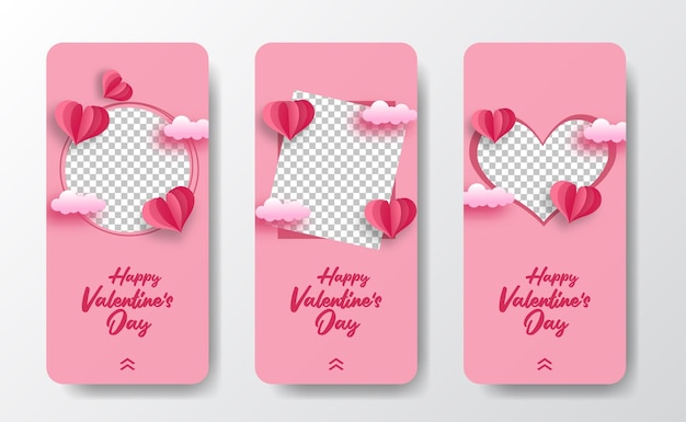 Le storie dei social media incorniciano il biglietto di auguri per san valentino con l'illustrazione di stile del taglio della carta a forma di cuore e lo sfondo pastello rosa tenue