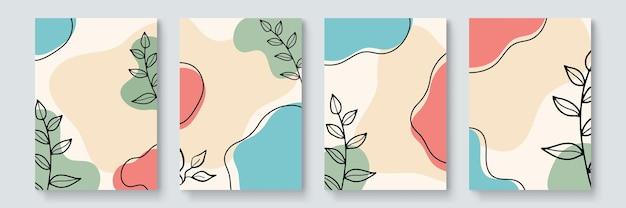 Storie di social media e set di vettori di modelli di post. le forme astratte coprono lo sfondo con spazio floreale e copia per testo e immagini. illustrazione vettoriale