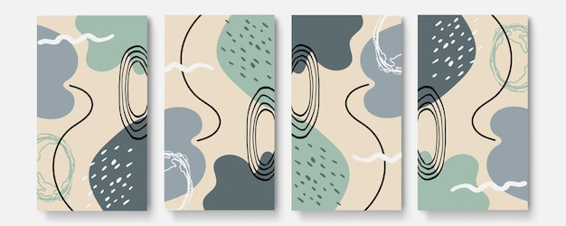 Storie di social media e set di vettori di modelli di post. le forme astratte coprono lo sfondo con spazio floreale e copia per testo o immagini. illustrazione vettoriale