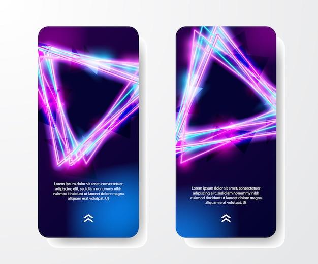 Modello di storie sui social media. cool retrò vintage anni '80 triangolo neon di colore e luminoso effetto luminoso