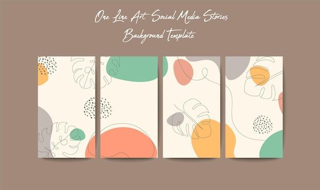 Modello di storie sui social media in stile puzzle a griglia con uno sfondo di arte di linea