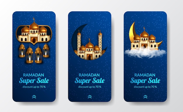 Modello di storie di social media della grande vendita di ramadan kareem con decorazione moschea di lusso dorata con sfondo blu