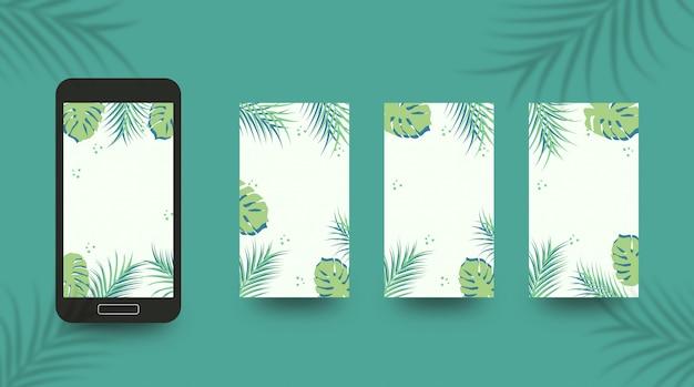 Modello di sfondo storia social media con vibrazioni tropicali di estate