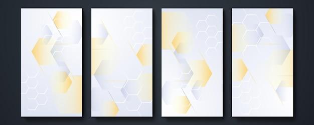 Sfondo del modello di storia dei social media. collezione di elementi di design, design di prodotti di lusso. realizzato con linee dorate. isolato su sfondo bianco. illustrazione vettoriale