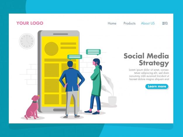 Illustrazione di strategia di media sociali per la pagina di destinazione