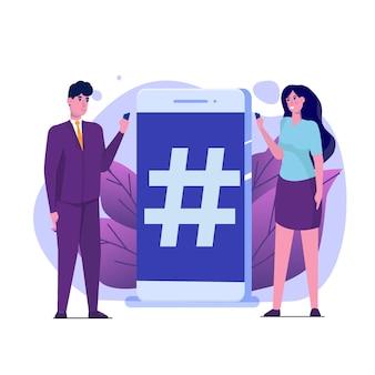 Concetto di stile dei social media con personaggi.