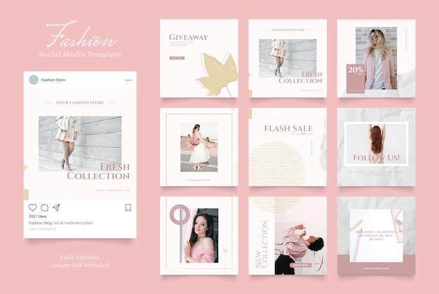 Promozione di vendita di moda banner modello social media. vendita organica completamente modificabile instagram e facebook piazza post frame puzzle