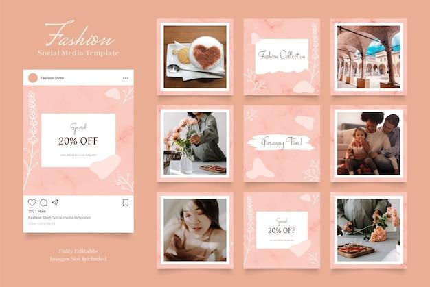 Promozione della vendita di moda banner modello di social media. colore rosa pesca marrone