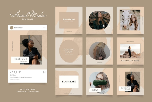 Promozione di vendita di moda banner modello social media.
