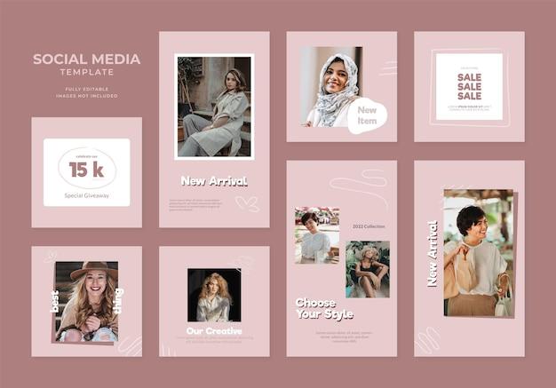 Promozione della vendita di moda del blog del modello di social media. poster di vendita organico con cornice quadrata instagram e facebook completamente modificabile. sfondo vettoriale rosa marrone rosso banner pubblicitario