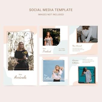 Modello di media sociali moda donna con sfondo astratto e colori tenui