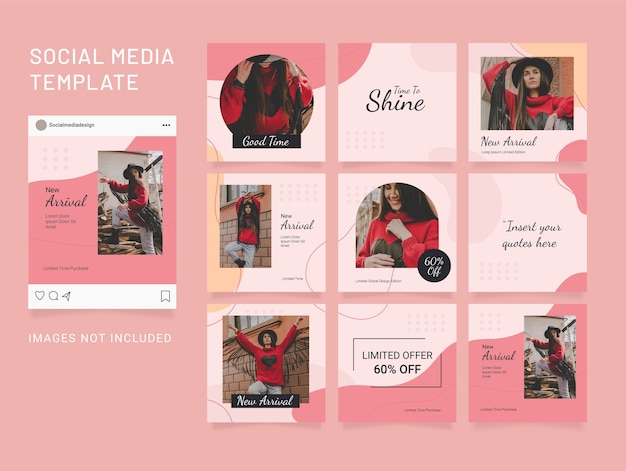 Social media template feed fashion women puzzle