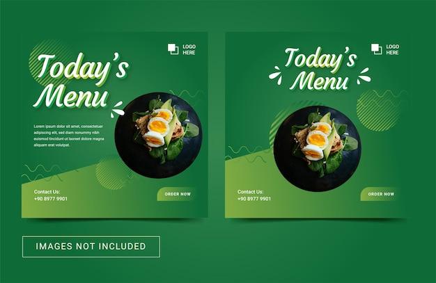 Post di volantino modello di social media per menu di cibo sano