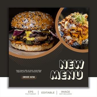 Modello di social media post storia feed cibo ristorante hamburger