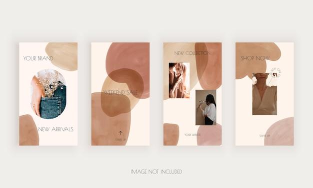 Modello di social media per storie con forme ad acquerello