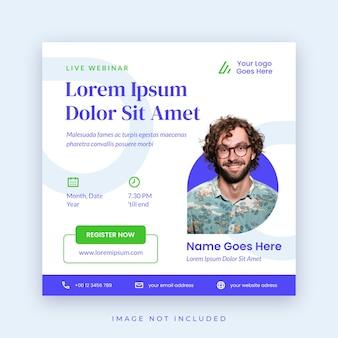 Poster webinar modello di social media