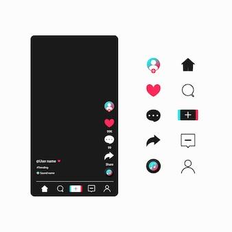 Applicazione web dei bottoni di progettazione moderna dei modelli di media sociali. imposta icone: ricerca, storia, come, condividi, hashtag, utente, commento, nota, home, plus.
