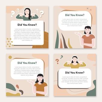 Modello di post di suggerimenti sui social media con illustrazione della donna