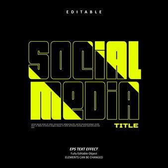 Titolo dei social media luce stabilo effetto testo modificabile premium vettore premium