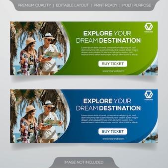 Banner pubblicitari di viaggi sui social media