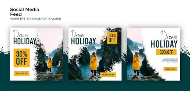 Pacchetto promozionale di post di viaggio e feed sui social media
