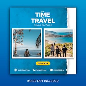 Post di viaggio sui social media e promozione dei feed