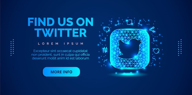 Social media twitter con sfondo blu.