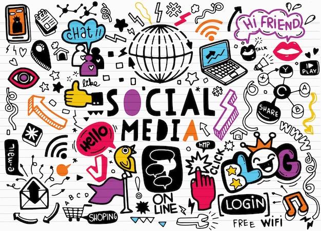 Scarabocchi sociali di vettore di media., linea arte di vettore insieme del fumetto di scarabocchio di oggetti e simboli sul tema sociale di media