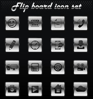 Icone meccaniche di ribaltamento di vettore di social media per la progettazione dell'interfaccia utente