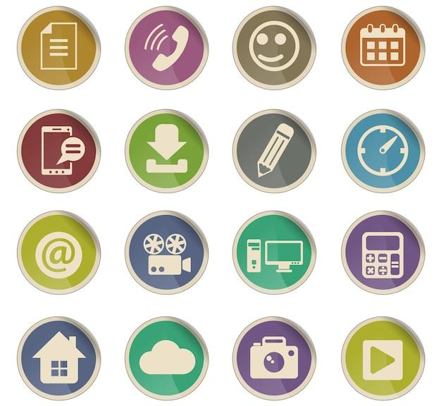Icone vettoriali di social media sotto forma di etichette di carta rotonde