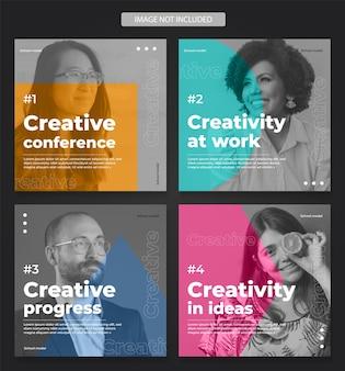 Social media vol 04 - affari. creativo, azienda, aziendale, università, conferenze, mostre, corsi, insegnanti, modello, post, colore