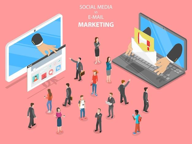 Social media vs email marketing isometrico piatto