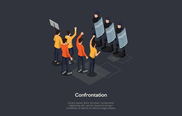 Concetto di incontri sociali, confronto, proteste e disordini caotici. un gruppo di persone che protestano in piedi di fronte a poliziotti in caschi con scudi