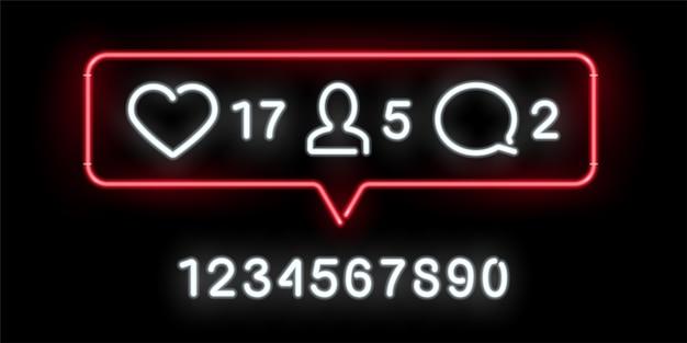 Indicatori di attività dei social network, insegna al neon con mi piace, commenti, quantità di follower significative.