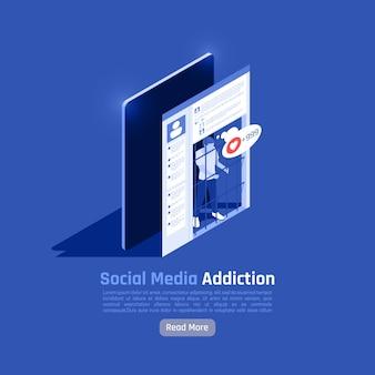 Illustrazione isometrica di dipendenza dalla rete sociale