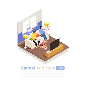 Dipendenza da social network isometrica con ambiente domestico e personaggi familiari incapaci di mettere giù l'illustrazione dei gadget,