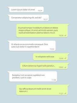 Finestra di chat di rete sociale, fumetto con testo